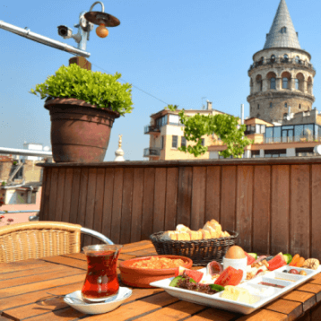 Layover in Turkey- Konak Cafe Istanbul for splendid views of Galata Tower.