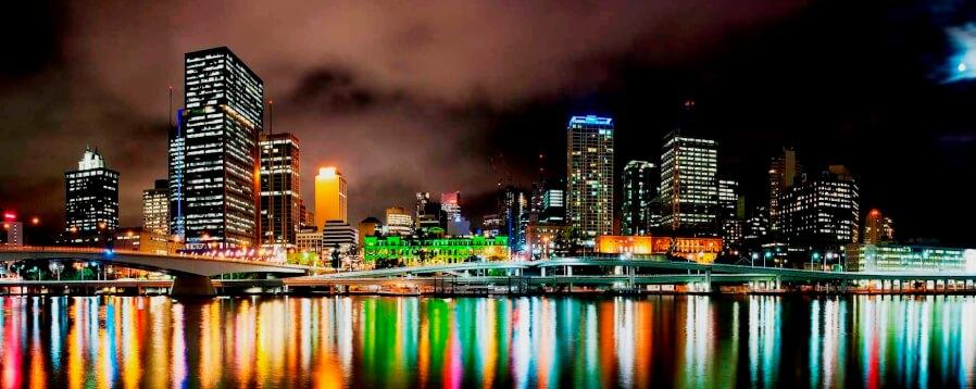 Night Time Shot of Brisbane City Center, Australia